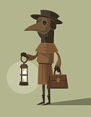 Plague doctor character mascot in crow mask hold lamp