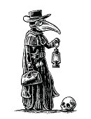 Plague, doctor with bird mask,suitcase, lantern, garlic. Engraving