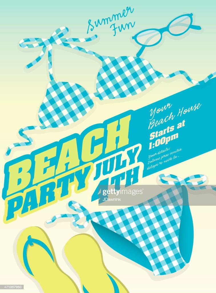 Plaid blue Bikini and Beach party template invitation design