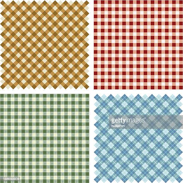 plaid fabric background set - textile industry stock illustrations