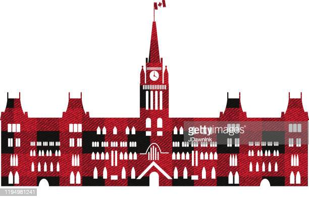 plaid lumberjack texture in red and black of the canadian parliament building - parliament building stock illustrations