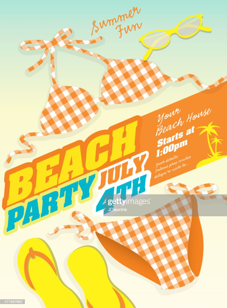 Plaid orange Bikini and Beach party template invitation design