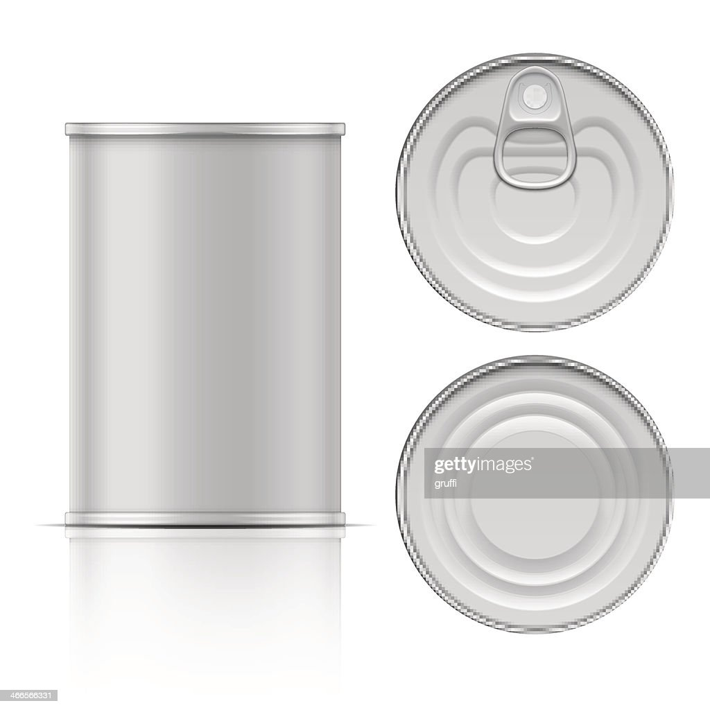 Plain aluminum can top bottom top lid blank stock photo