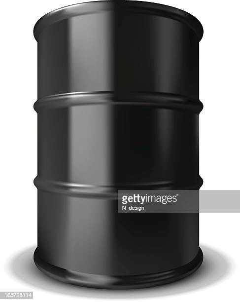plain black oil barrel with rings around it - oil drum stock illustrations, clip art, cartoons, & icons