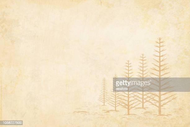 ilustrações de stock, clip art, desenhos animados e ícones de plain blank light brown grunge christmas vector background in earthy tone with five trees without leaves depicting winter where leaves have been shed. - arcaico