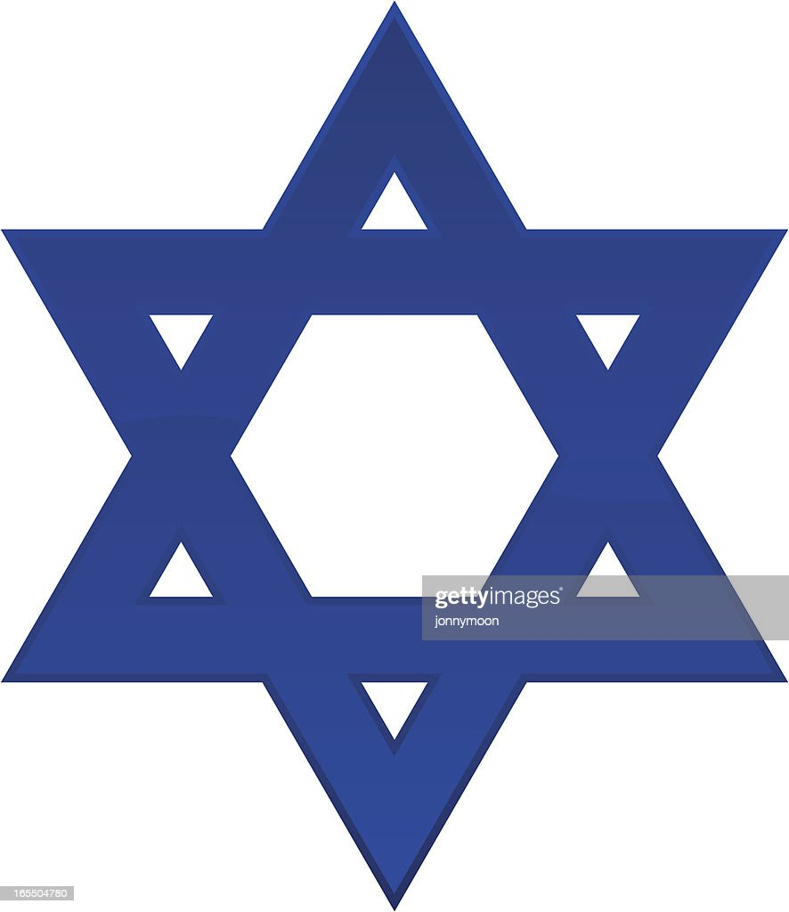 A plain blue Star of David with a white background  : stock illustration
