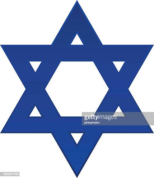 bildbanksillustrationer, clip art samt tecknat material och ikoner med a plain blue star of david with a white background  - davidsstjärna