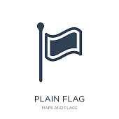 plain flag icon vector on white background, plain flag trendy fi