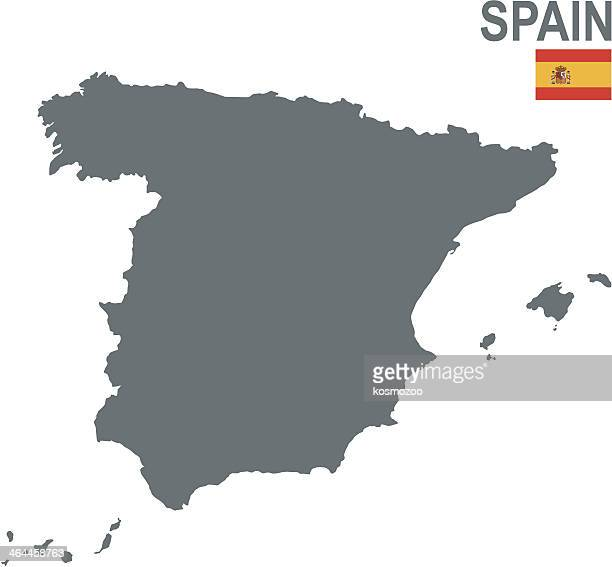 stockillustraties, clipart, cartoons en iconen met a plain gray map of spain on a white background - spain