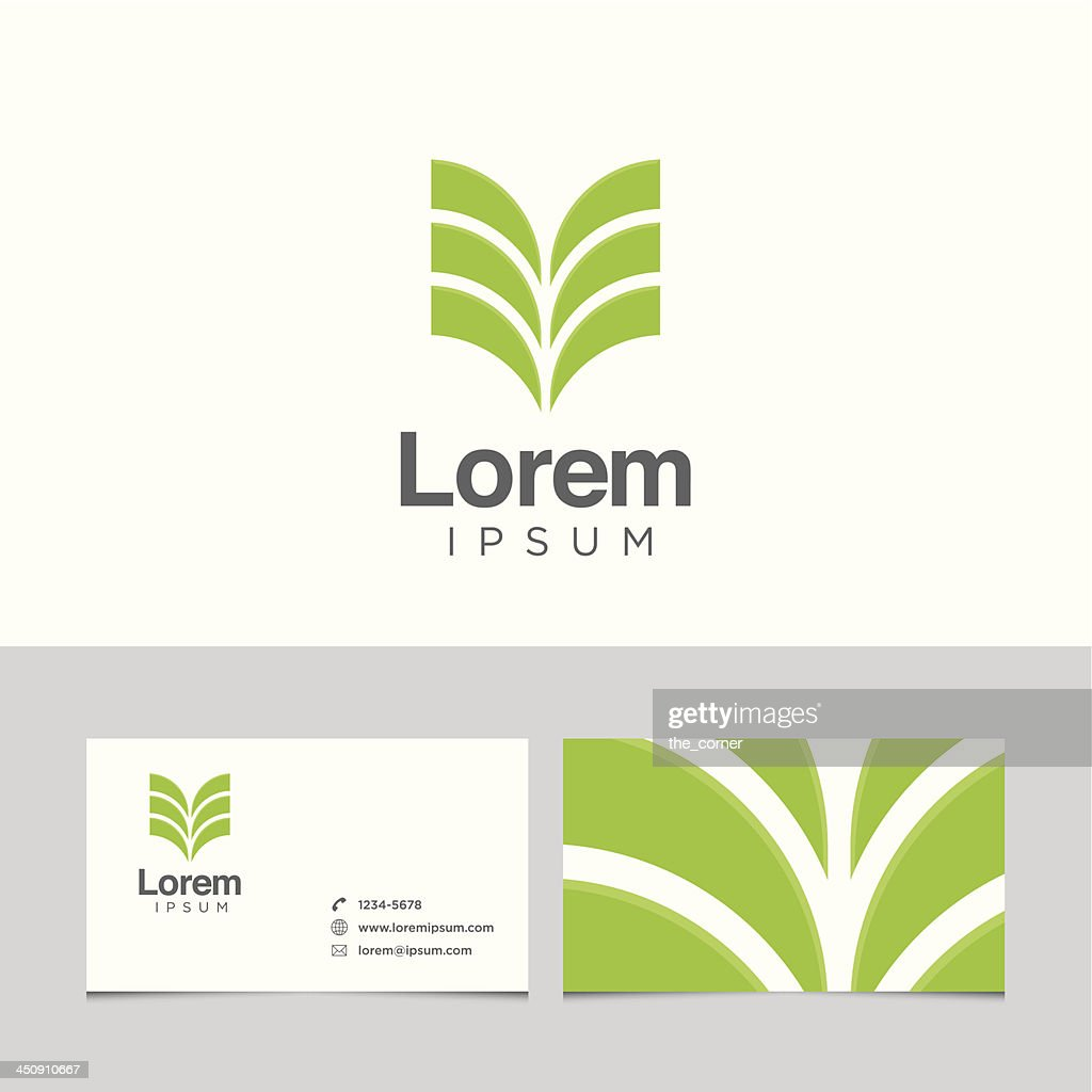 Plain Lorem business card with green plantlike logo