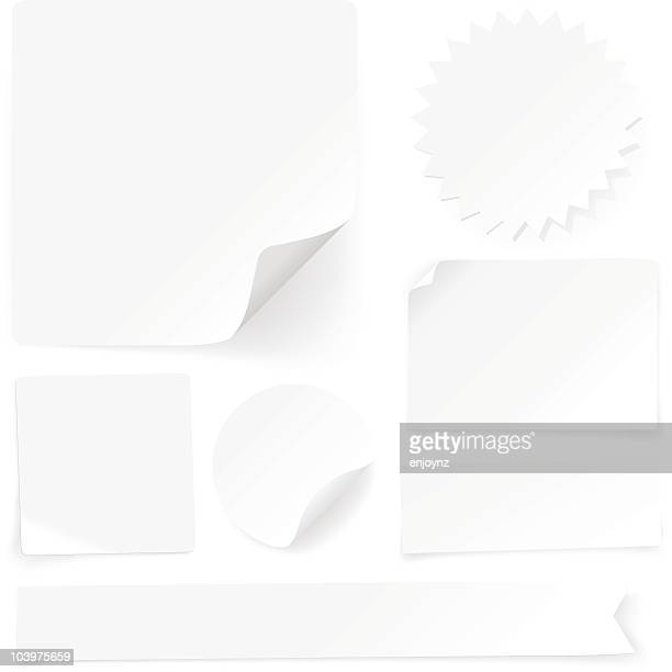 plain paper labels, tags and stickers - post it stock illustrations, clip art, cartoons, & icons