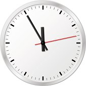 plain wall clock in the eleventh hour