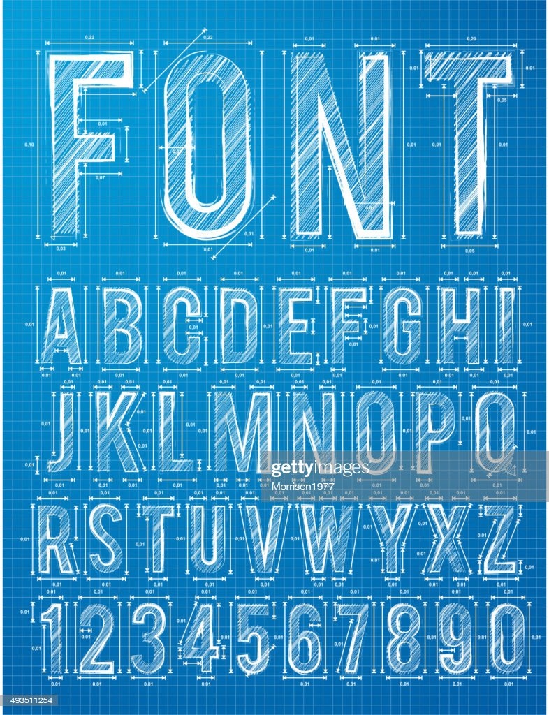 Plan alphabet design font