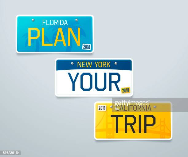 plan your trip license plates - id card template stock illustrations