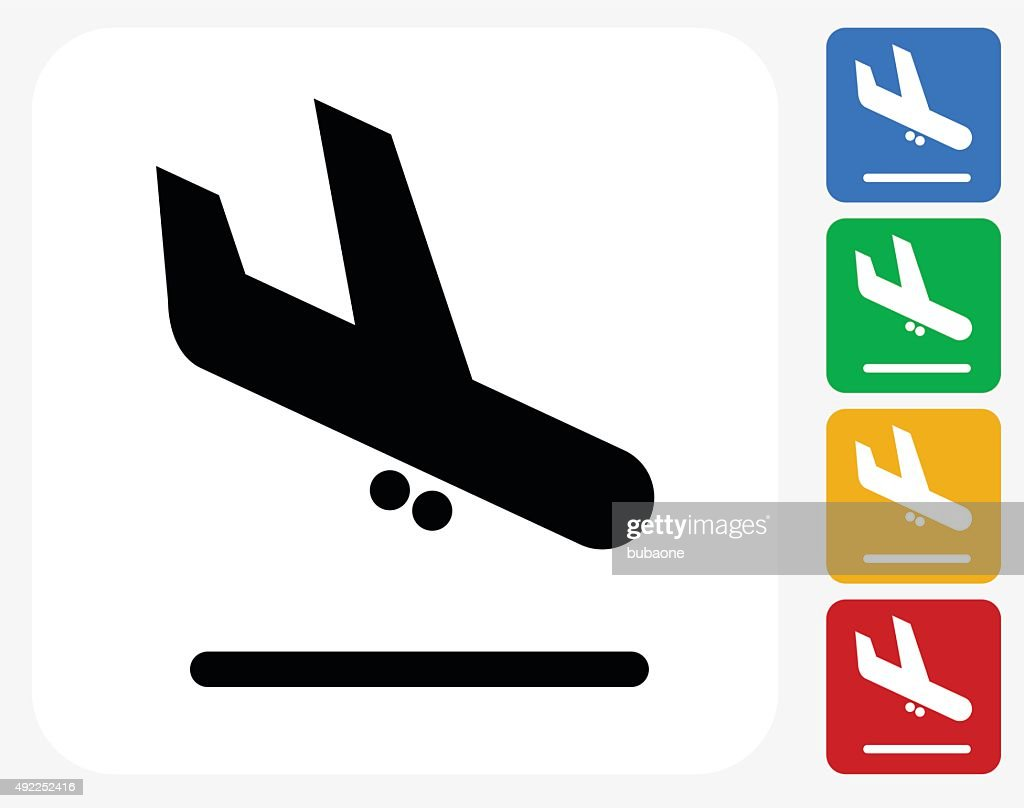 Plane Arrival Icon Flat Graphic Design