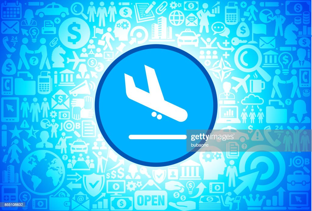 Plane Arrival  Icon on Business and Finance Vector Background
