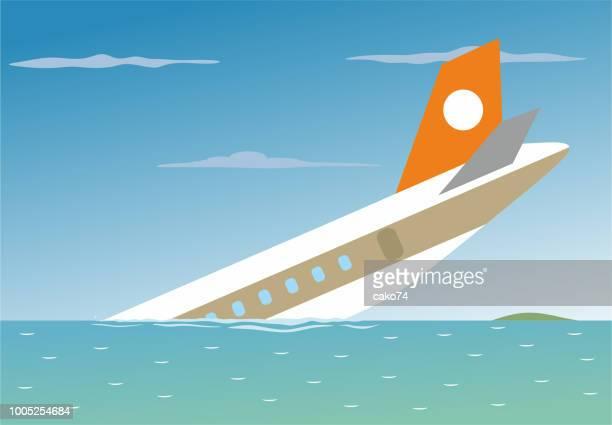 illustrations, cliparts, dessins animés et icônes de avion s'est écrasé dans la mer - catastrophe aérienne