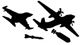 Plane drops a nuclear bomb. Fighter launches a rocket. Silhouette military aircraft vector Illustration