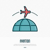 Plane flying around globe. Thin line vector illustration for logo of air travel company.