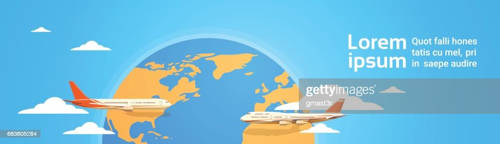 Plane Flying Over World Map Tourism Concept Vacation Trip Air Plane Flight