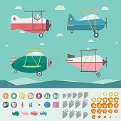 Plane Game Asset (Four Planes, Background, Icons, Smoke and Fire)