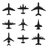 Plane icon set. Airplane silhouettes. Vector illustration.