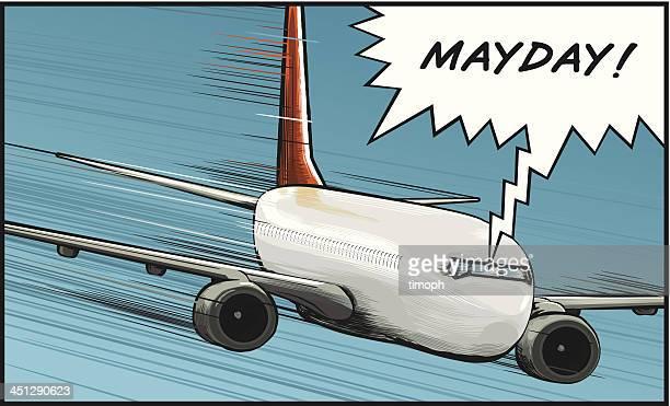 illustrations, cliparts, dessins animés et icônes de avion mayday - catastrophe aérienne