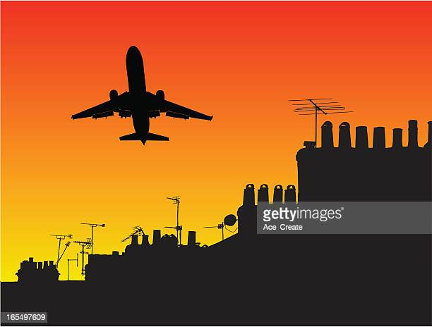 plane takeoff over houses - television aerial stock illustrations, clip art, cartoons, & icons