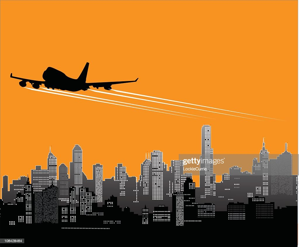Plane taking off against an orange and gray cityscape : stock illustration