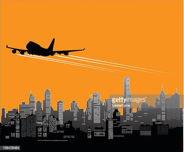 plane taking off against an orange and gray cityscape - vapor trail stock illustrations, clip art, cartoons, & icons