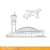 Plane taking off at the airport. Airbus departs. Outline sketch