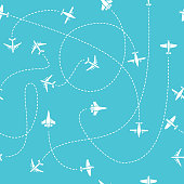 Plane travel seamless pattern. World travelling blue endless vector background with dashed path lines