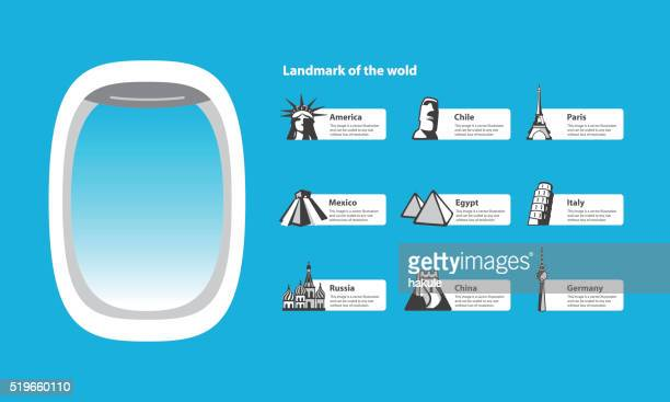 plane window and landmarks of the world
