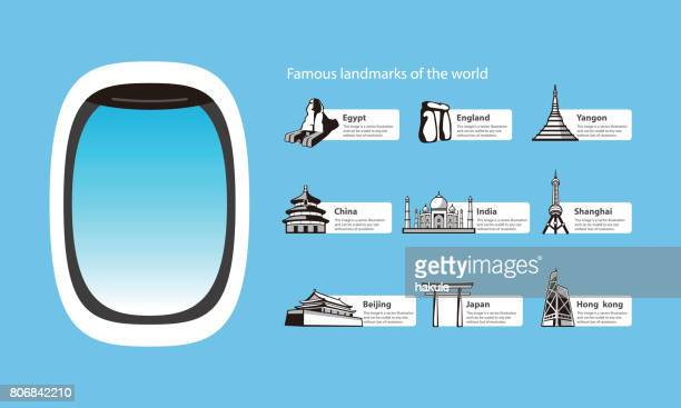 plane window and landmarks of the world, vector illustration