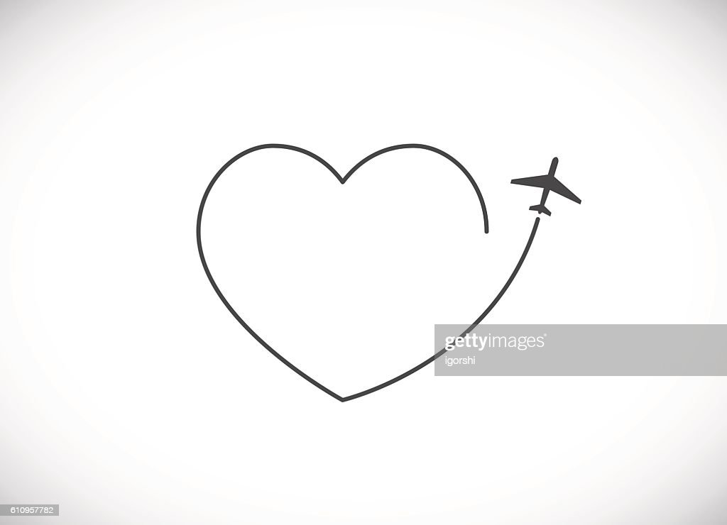 plane with heart shape cloud icon