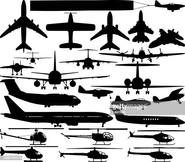 planes and helicopters - military airplane stock illustrations