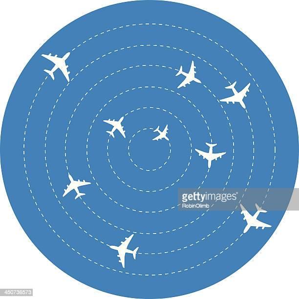 ilustraciones, imágenes clip art, dibujos animados e iconos de stock de aviones deambulación en círculos - orbiting