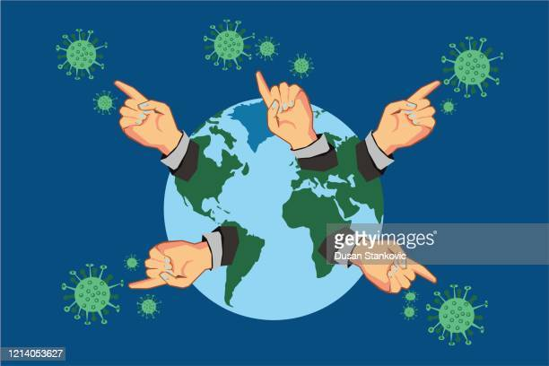 planet earth alerts people to the corona virus - diplomacy stock illustrations