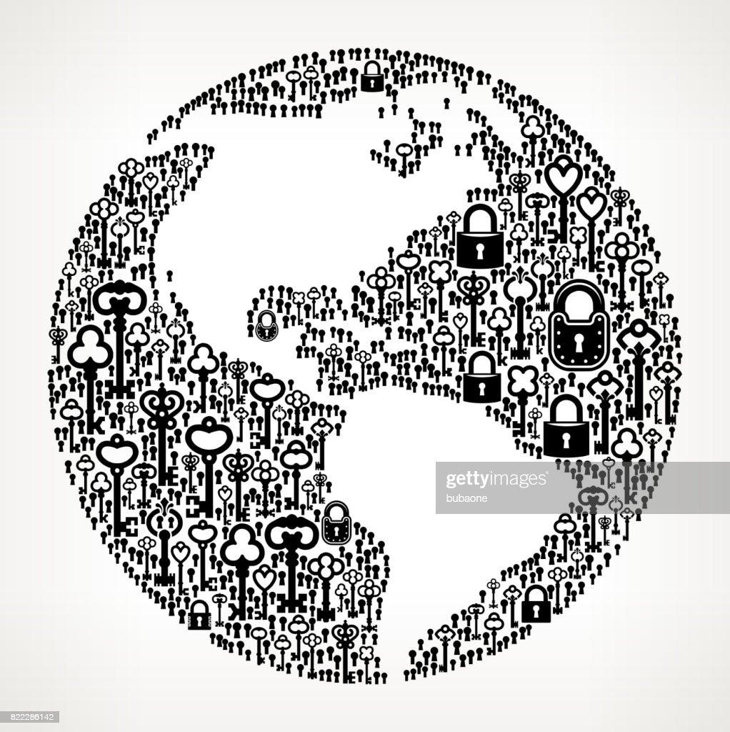 Planet Earth Antique Keys Black and White Vector Pattern : stock illustration