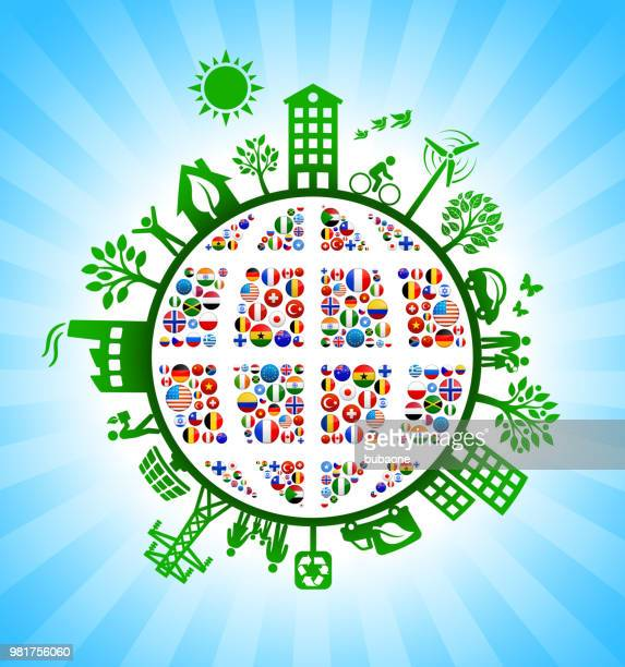 Planet Earth Country Flags Green Environmental Conservation Background