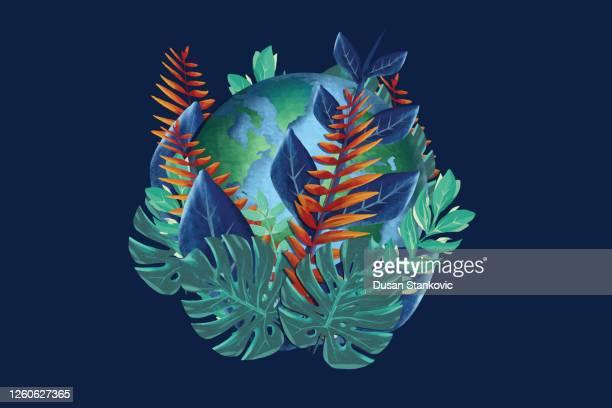 illustrazioni stock, clip art, cartoni animati e icone di tendenza di pianeta terra coperto di foglie - giornata mondiale della terra