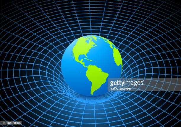 planet earth - gravity field - gravitational field stock illustrations
