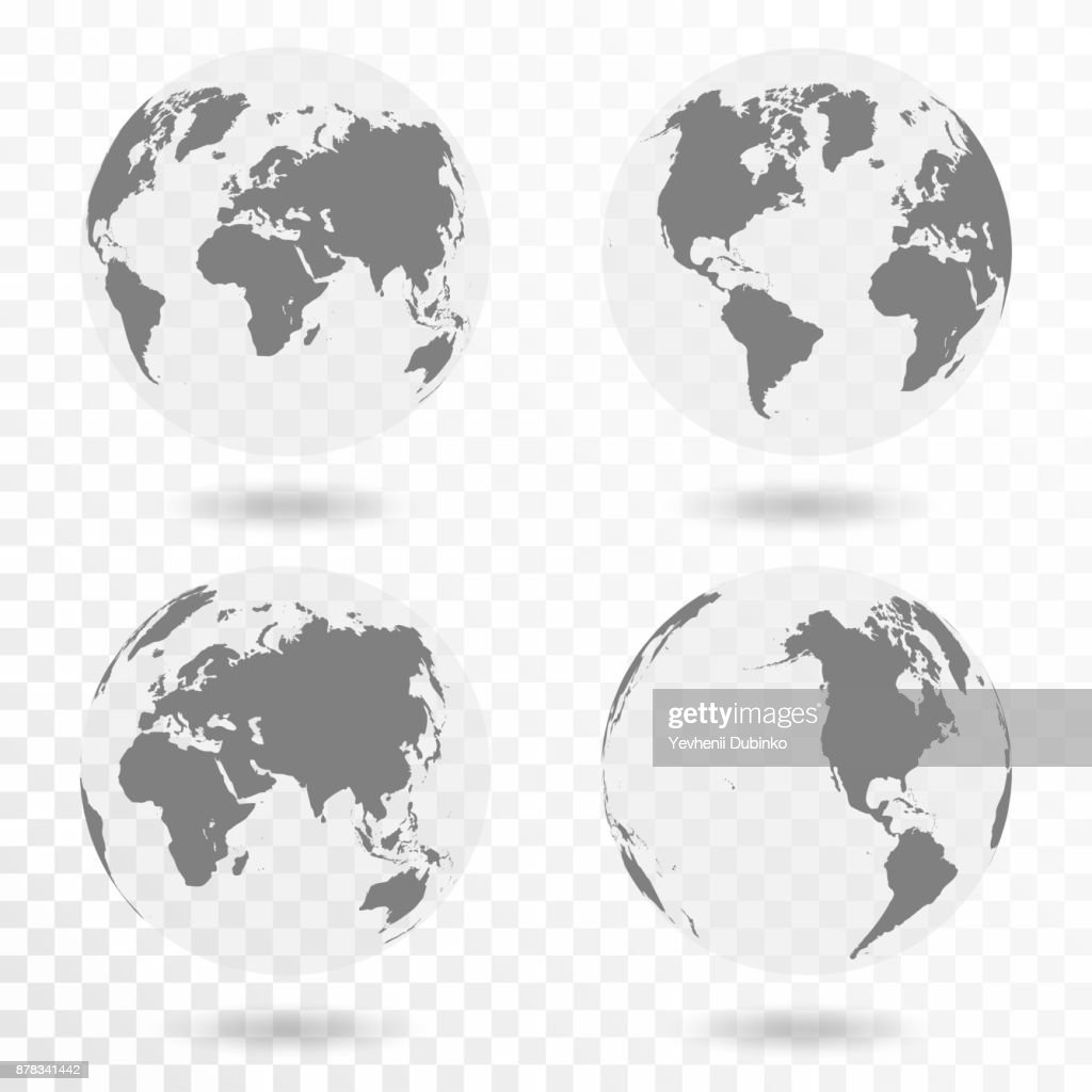Planet Earth icon set. Earth globe isolated on transparent background