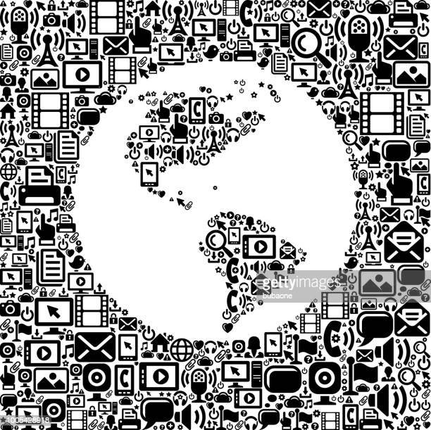 Planet Earth Internet Communication Technology Vector Icon Pattern