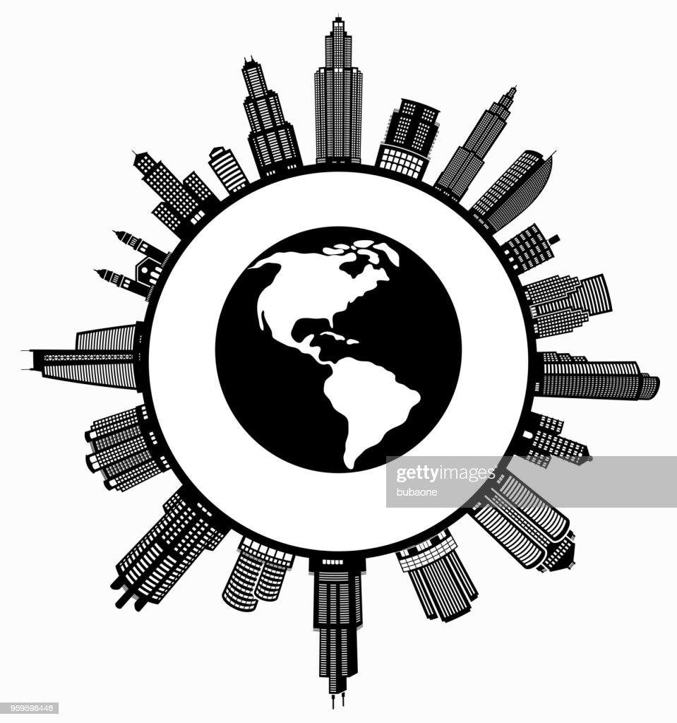 Planetenerde auf modernen Stadtbild Skyline Hintergrund : Stock-Illustration