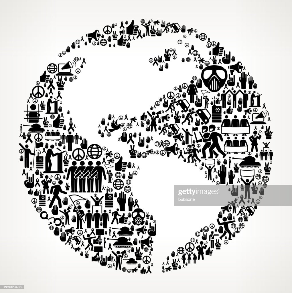 Planet Earth Protest and Civil Rights Vector Icon Background : Stock Illustration