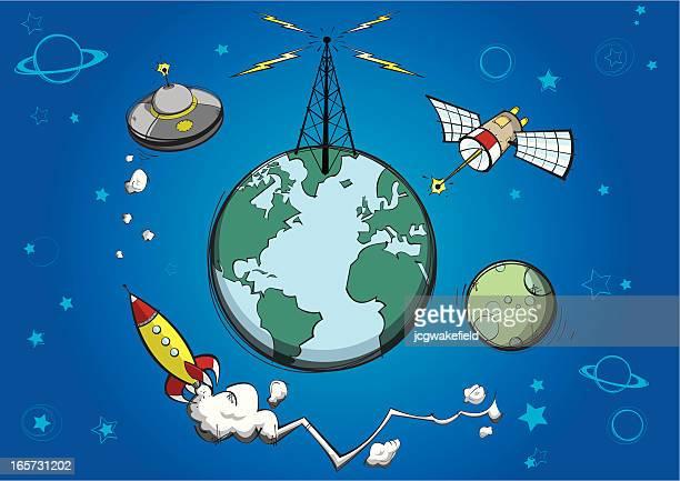 planet earth & satellites - gravitational field stock illustrations