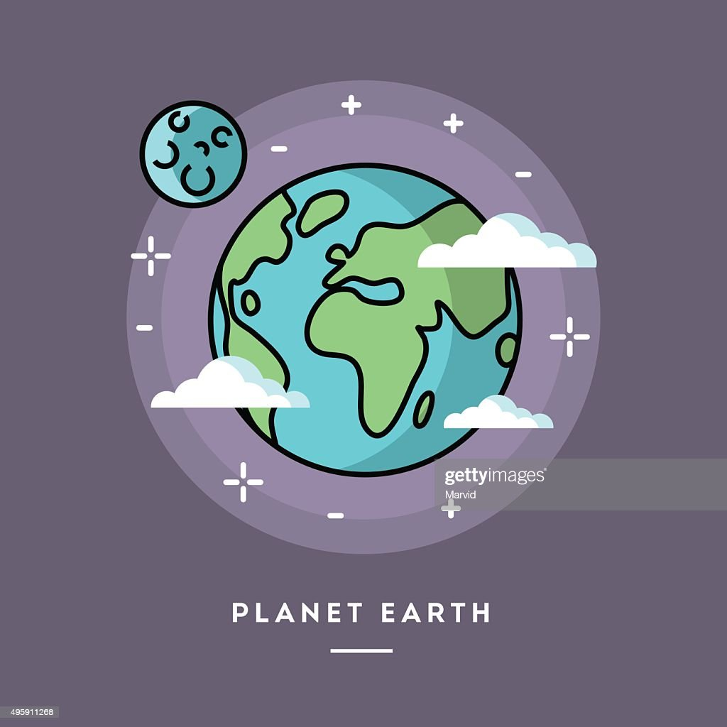 Planet Earth seen from space, line flat design banner