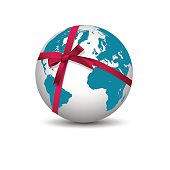 Planet Earth with bow red ribbon