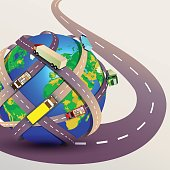 Planet Earth with many intertwined roads.  Freight and logistic technologies, winding roads. Vector illustration